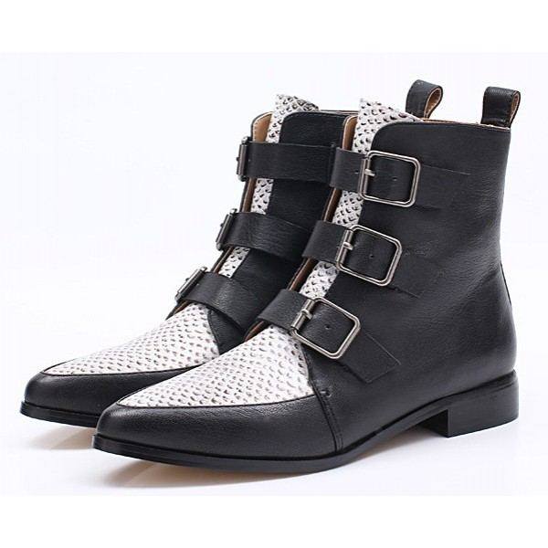 Black White Pointed Head Grey Snake Skin Ankle Chelsea Boots Shoes
