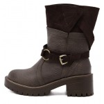 Brown Suede Long Combat Military Rider Boots Shoes