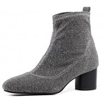 Grey Silver Glitter Blunt Head Stretchy Pull On High Heels Ankle Boots Shoes