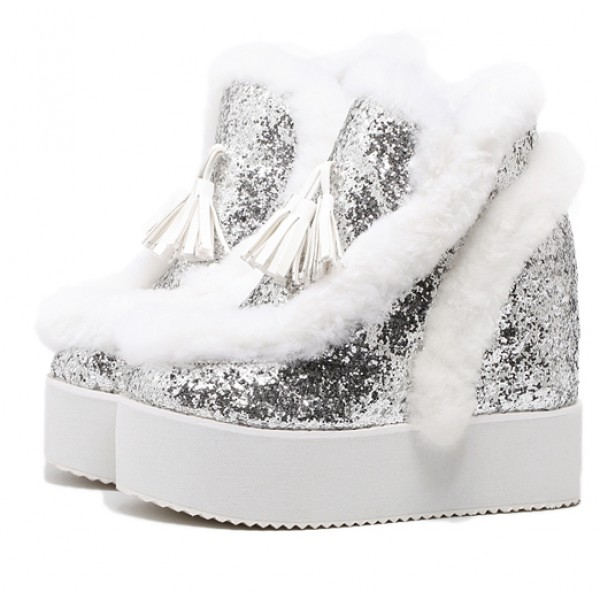 Silver Glitter Fur Tassels Wedges Platforms Shoes