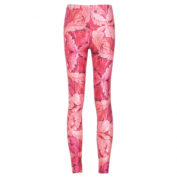 Pink Red Maple Leaves Print Yoga Fitness Leggings Tights Pants