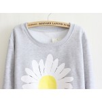 White Giant Sunflower Long Sleeve Sweatshirts Tops