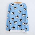Blue White French Bulldogs Dogs Cartoon Long Sleeve Sweatshirts Tops