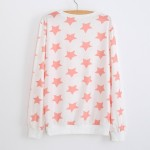 White Pink Stars Cartoon Long Sleeve Sweatshirts Tops