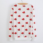 White Red Watermelons Cartoon Long Sleeve Sweatshirts Tops