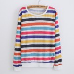 Colorful Rainbow Stripes Long Sleeve Sweatshirts Tops