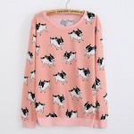 Pink White French Bulldogs Dogs Cartoon Long Sleeve Sweatshirts Tops