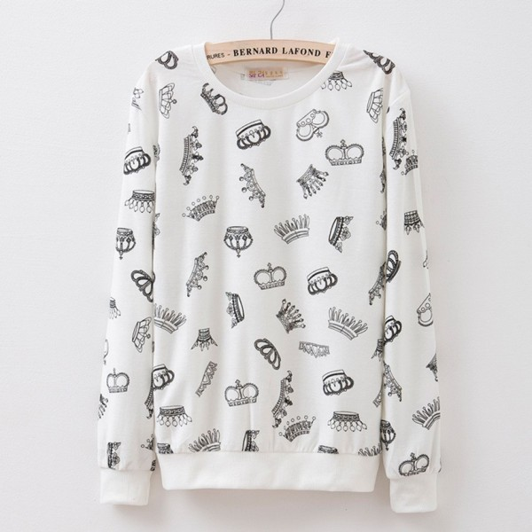 White Black Crowns Print Cartoon Long Sleeve Sweatshirts Tops