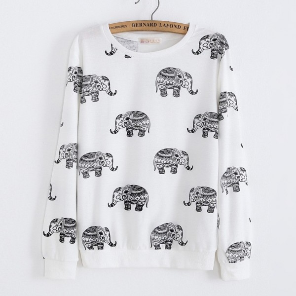 White Black Oriental Elephants Cartoon Long Sleeve Sweatshirts Tops