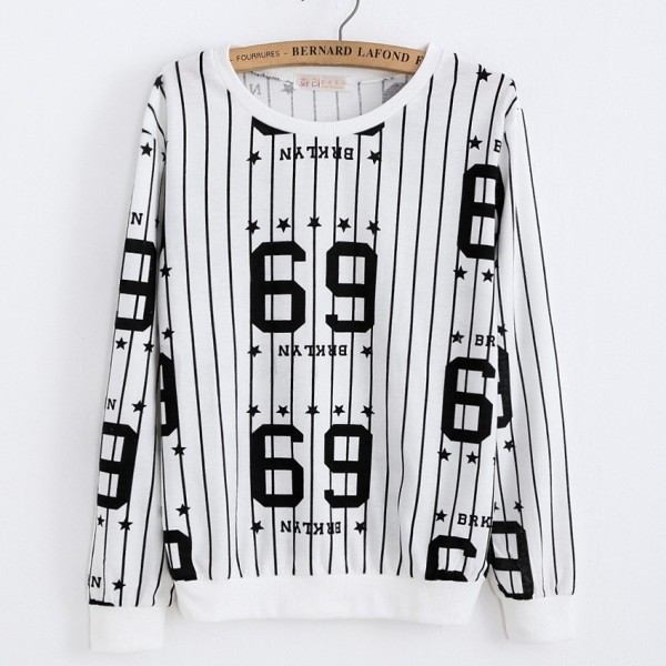 White Black Stripes 69 BRKLYN Long Sleeve Sweatshirts Tops