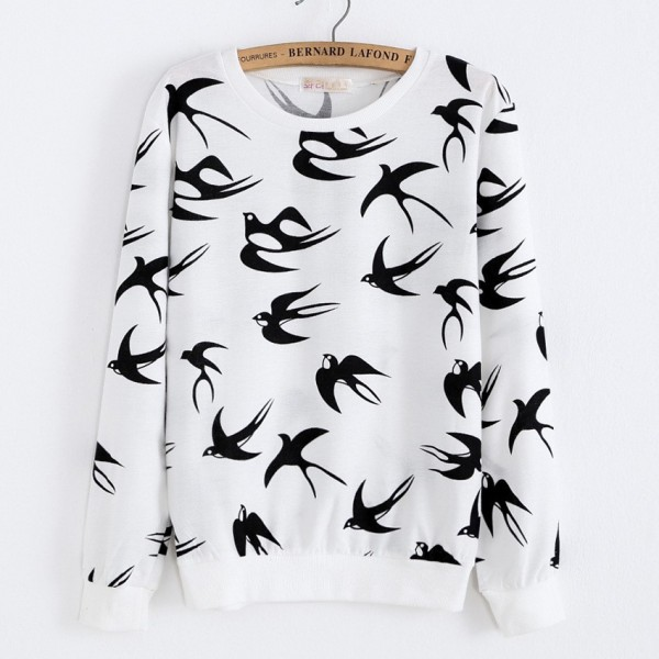 White Black Swallows Birds Cartoon Long Sleeve Sweatshirts Tops