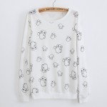 White Cute Mascots Cartoon Long Sleeve Sweatshirts Tops
