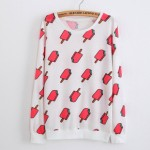 White Pink Popsicles Cartoon Long Sleeve Sweatshirts Tops