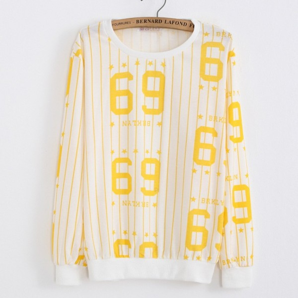 White Yellow Stripes 69 BRKLYN Long Sleeve Sweatshirts Tops