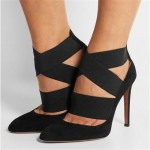 Black Suede Strappy Straps Bandage Point Head High Stiletto Heels Shoes