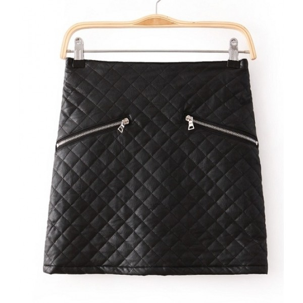 Black PU Faux Leather Quilted Mini Rider Skirt