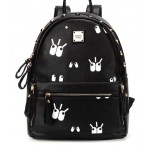 Pink Cream Black Cartoon Eyes Studs Gothic Punk Rock Backpack