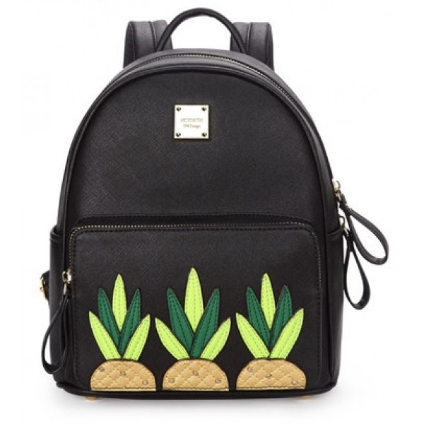 Black Cream Pineapples Cartoon Studs Gothic Punk Rock Backpack