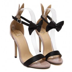 Khaki Patent Leather Rabbit Ears Black Bow High Stiletto Heels Sandals Shoes