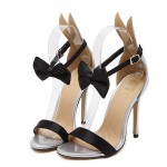 Silver Patent Leather Rabbit Ears Black Bow High Stiletto Heels Sandals Shoes