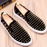 Black Suede Gold Metal Spikes Studs Punk Rock Loafers Sneakers Mens Shoes