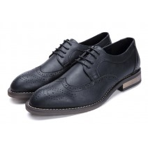 Black Lace Up Wingtip Oxfords Mens Dress Shoes Flats