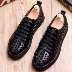 Black Patent Croc Spikes Studs Lace Up Punk Rock Loafers Sneakers Mens Shoes