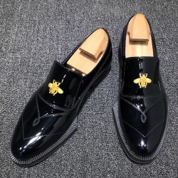 Black Patent Embroidery Bees Irregular Sole Loafers Mens Dress Shoes Flats