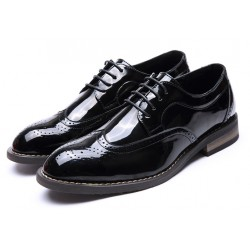 Black Patent Lace Up Wingtip Oxfords Mens Dress Shoes Flats