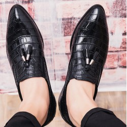 Black Tassels Croc Mens Pointed Head Loafers Dress Dapper Man Shoes Flats