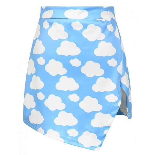 Blue Cloud Sky High Waist Bodycon Slit Mini Skirt