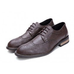 Brown Lace Up Wingtip Oxfords Mens Dress Shoes Flats