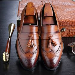 Brown Tassels Croc Mens Loafers Dress Dapper Man Shoes Flats