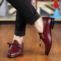 Burgundy Bow Tassels Pointed Head Mens Loafers Dress Dapper Man Shoes Flats