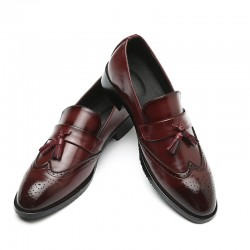 Burgundy Tassels Croc Mens Loafers Dress Dapper Man Shoes Flats