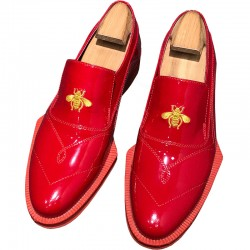 Red Patent Embroidery Bees Irregular Sole Loafers Mens Dress Shoes Flats