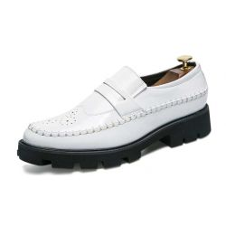 White Patent Leather Thick Sole Mens Oxfords Loafers Dress Shoes Flats