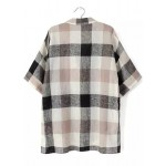 Black White Beige V Neck Plaid Checkers Loose Fit Shirt