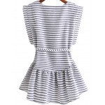Black White Stripes Lines Round Neck Sleeveless Shirt Top