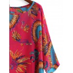 Pink Bohemia Feather Ethnic Chiffon Poncho Loose Blouse