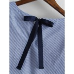 Blue Short Sleeve Bell Shaped Bow Back Shirt Top