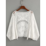 White Bat Sleeve Embroidered Hollow Out Top