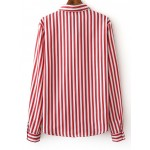 Red White Stripes Lapel Collar Buttons Up Long Sleeves Shirt Blouse