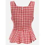 Red Checkers Peplum Tank Top Top Vest
