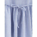 Blue Vertical Striped Sleeveless Ruffles Peplum Top Shirt Blouse