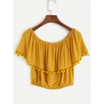 Yellow Pom Pom Ruffle Off Shoulder Top Blouse