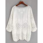 White Hollow Out Crochet Lace Embroidered Mid Sleeves Shirt Blouse