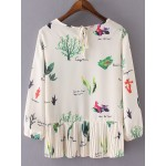 Beige Leaves Plant Printed Elastic Cuff Long Sleeves Shirt Blouse