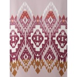 Pink Geometric Ethnic Tribal Print Rolled Short Sleeves Shirt Top