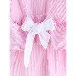 Pink Stripes White Bow Tied Up Blouse Top